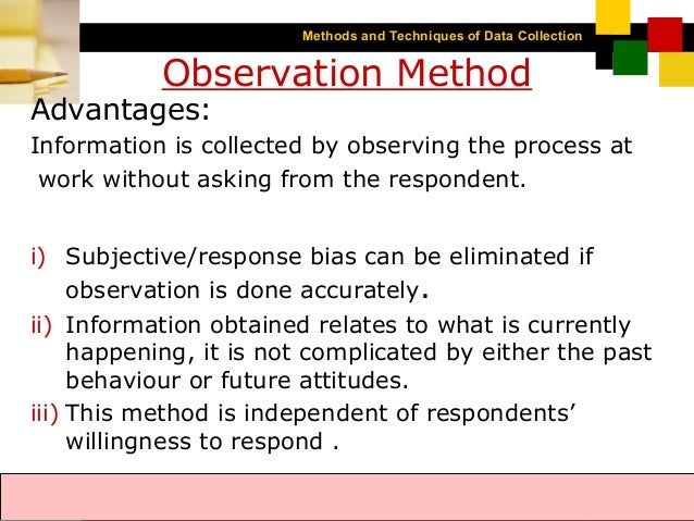 methods for data collection Chapter 9-methods of data collection 1 methods of data collection 2 what is data collection the process by which the researcher.