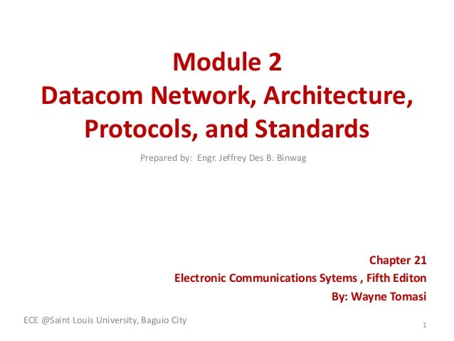 Module 2 Datacom Network, Architecture, Protocols, and Standards Chapter 21 Electronic Communications Sytems , Fifth Edito...