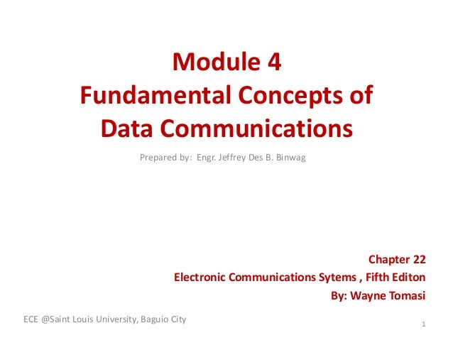 Module 4 Fundamental Concepts of Data Communications Chapter 22 Electronic Communications Sytems , Fifth Editon By: Wayne ...