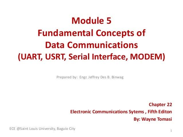 Module 5 Fundamental Concepts of Data Communications (UART, USRT, Serial Interface, MODEM) Chapter 22 Electronic Communica...