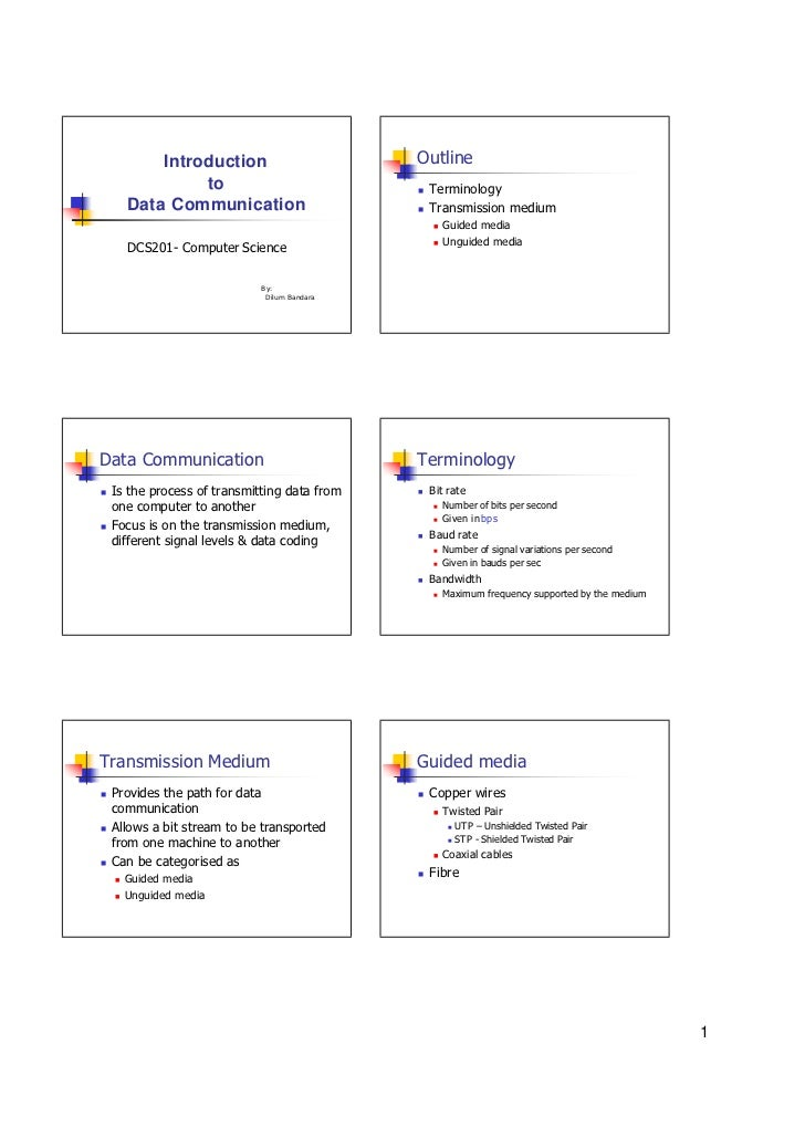 Introduction                       Outline                 to                            n   Terminology        Data Commu...