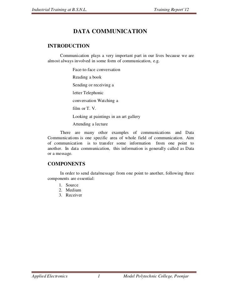 Industrial Training at B.S.N.L.                                  Training Report'12                       DATA COMMUNICATI...