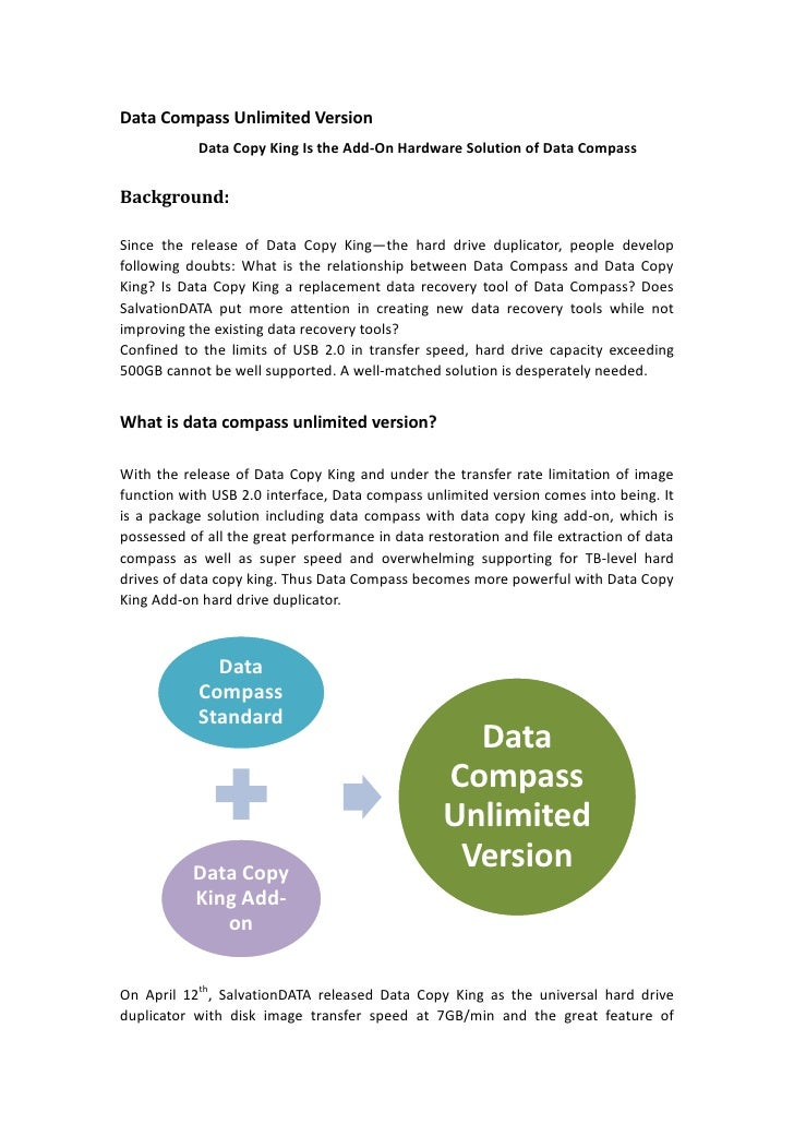 Data Compass Unlimited Version <br />Data Copy King Is the Add-On Hardware Solution of Data Compass<br />Background: <br /...