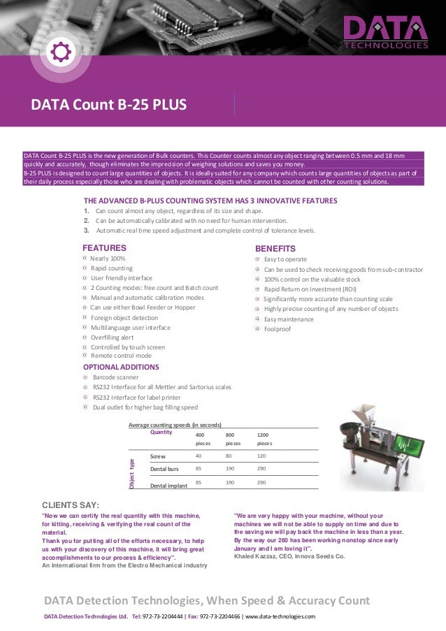 FEATURES Nearly 100% Rapid counting User friendly interface 2 Counting modes: free count and Batch count Manual and automa...