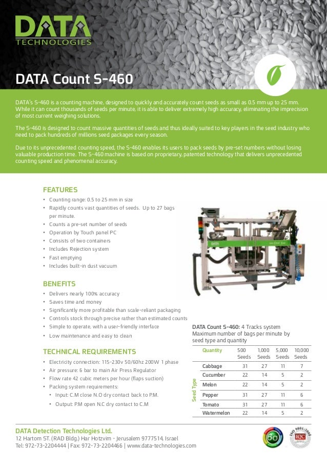 DATA's S-460 is a counting machine, designed to quickly and accurately count seeds as small as 0.5 mm up to 25 mm. While i...
