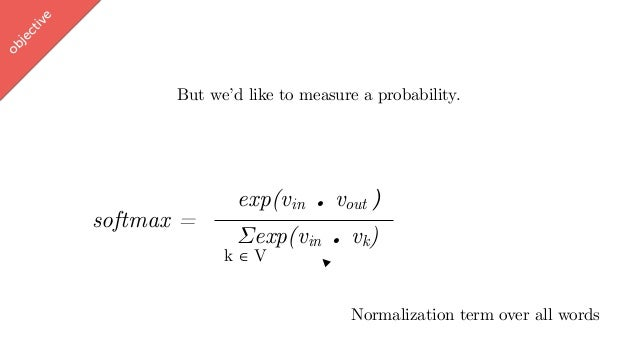 w ord2vec But we'd like to measure a probability. exp(vin . vout ∈ [-1,1]) Σexp(vin . vk) softmax = objective Normalizatio...