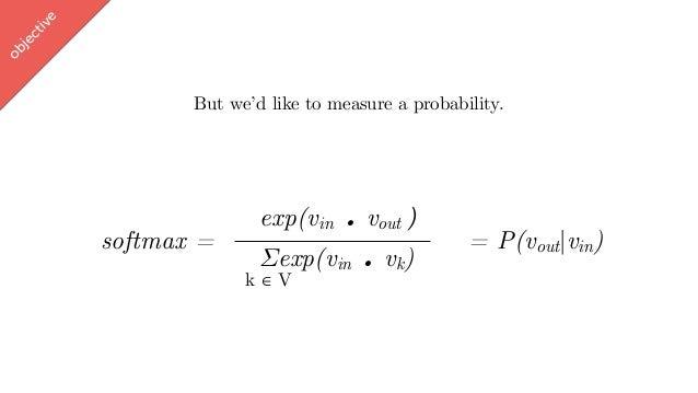 w ord2vec But we'd like to measure a probability. exp(vin . vout ∈ [-1,1]) Σexp(vin . vk) softmax = = P(vout vin) objectiv...
