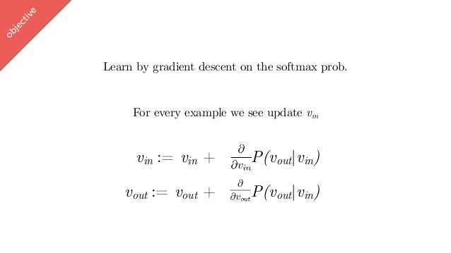 w ord2vec Learn by gradient descent on the softmax prob. For every example we see update vin vin := vin + P(vout vin) obje...