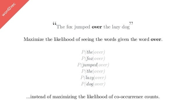 """w ord2vec """"The fox jumped over the lazy dog"""" Maximize the likelihood of seeing the words given the word over. P(the over) ..."""