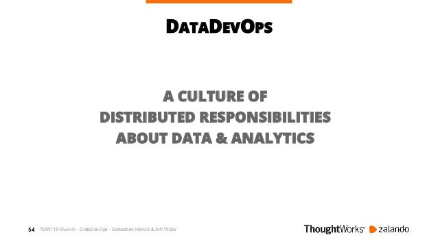 55 DATADEVOPS WHAT IS DEVOPS? Distributed Ops skills Shared Ops responsibilities Self-service platforms Cross-functional d...