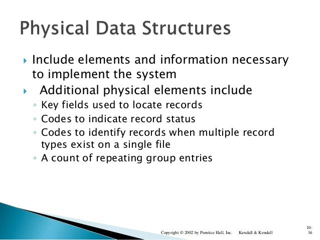  Include elements and information necessary to implement the system  Additional physical elements include ◦ Key fields u...