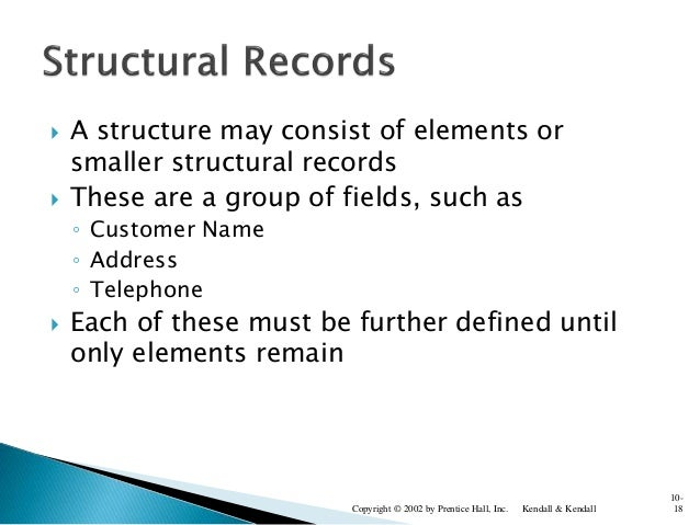  A structure may consist of elements or smaller structural records  These are a group of fields, such as ◦ Customer Name...