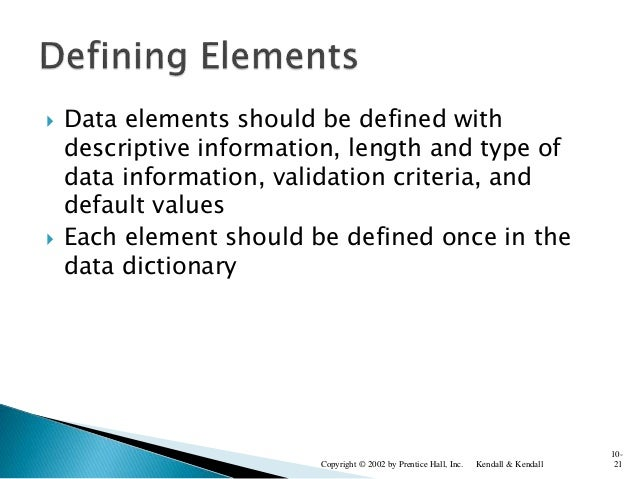  Data elements should be defined with descriptive information, length and type of data information, validation criteria, ...