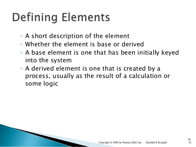 ◦ A short description of the element ◦ Whether the element is base or derived ◦ A base element is one that has been initia...
