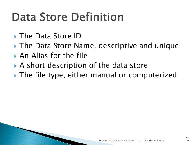  The Data Store ID  The Data Store Name, descriptive and unique  An Alias for the file  A short description of the dat...