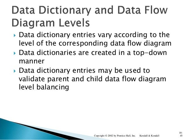 Data dictionary entries vary according to the level of the corresponding data flow diagram  Data dictionaries are creat...
