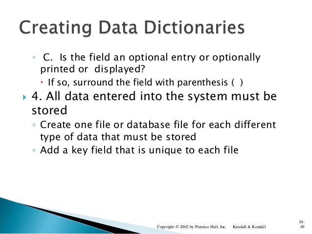 ◦ C. Is the field an optional entry or optionally printed or displayed?  If so, surround the field with parenthesis ( ) ...