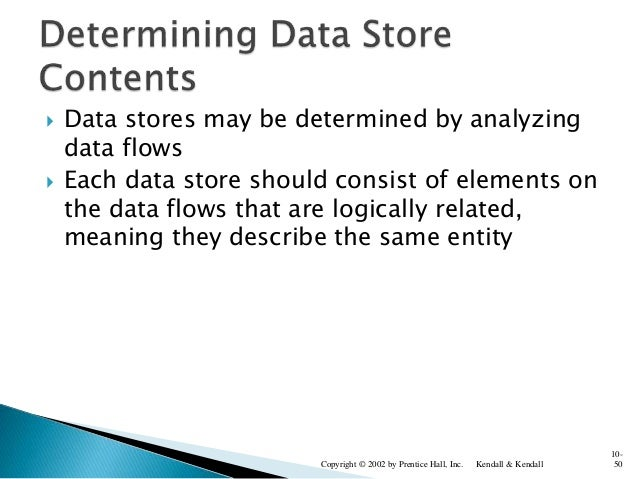  Data stores may be determined by analyzing data flows  Each data store should consist of elements on the data flows tha...