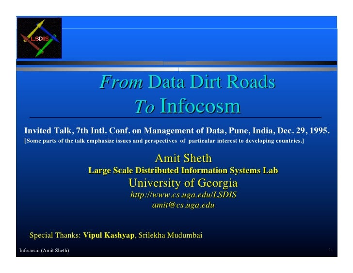 From Data Dirt Roads to Infocosm