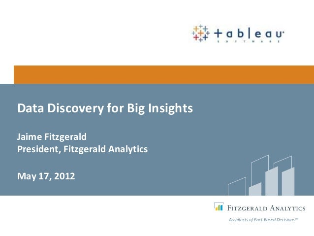 Data Discovery for Big InsightsJaime FitzgeraldPresident, Fitzgerald AnalyticsMay 17, 2012                                ...