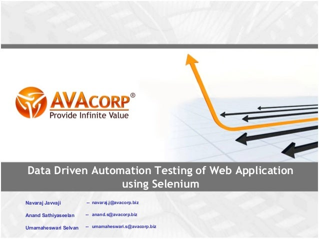 Data driven automation testing of web applications using selenium