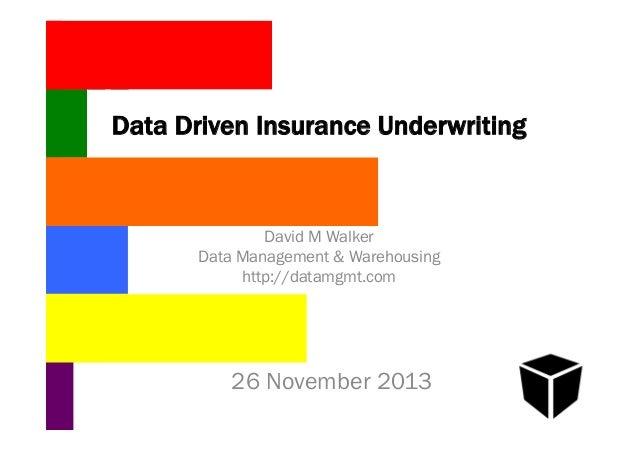 Data Driven Insurance Underwriting  David M Walker Data Management & Warehousing http://datamgmt.com  26 November 2013