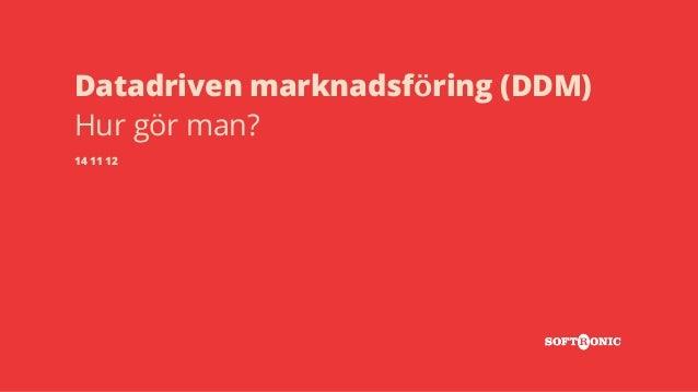 Datadriven marknadsföring (DDM)  Hur gör man?  14 11 12