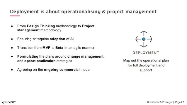 Confidential & Privileged | Page 27 Deployment is about operationalising & project management ● From Design Thinking meth...