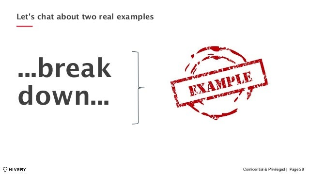 Confidential & Privileged | Page 28 Let's chat about two real examples ...break down...