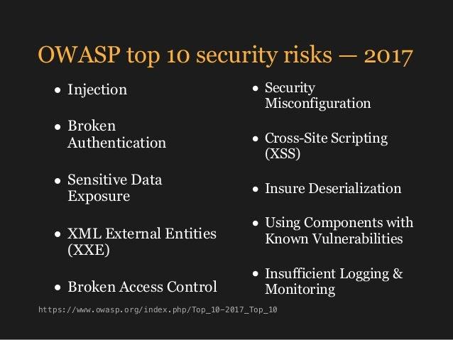 OWASP top 10 security risks — 2017 • Security Misconfiguration • Cross-Site Scripting (XSS) • Insure Deserialization • Usi...