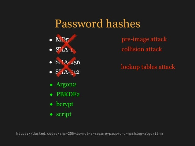 Password hashes • MD5 • SHA-1 • Argon2 • PBKDF2 • bcrypt • script • MD5 • SHA-1 https://dusted.codes/sha-256-is-not-a-secu...