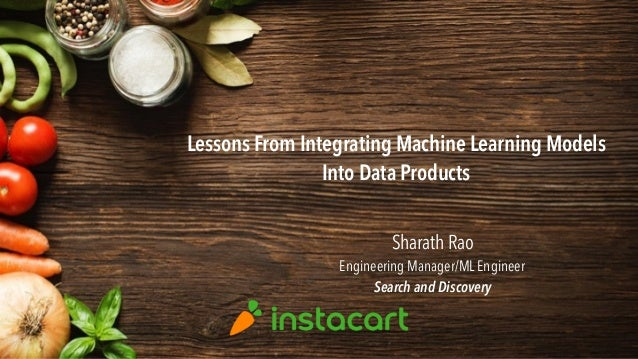 Lessons From Integrating Machine Learning Models Into Data Products Sharath Rao Engineering Manager/ML Engineer Search and...