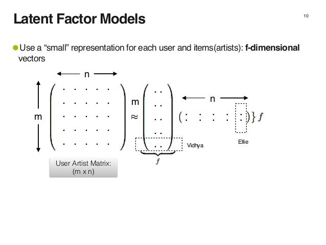 """Latent Factor Models 10 Vidhya Ellie .. . . . . .. . . . . .. . . . . .. . . . . .. . . . . •Use a """"small"""" representation ..."""
