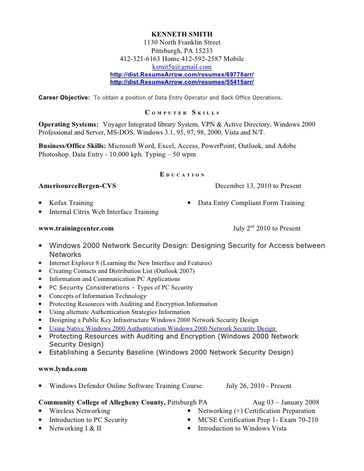 Data Entry Representative Resume May 26, 2012. KENNETH SMITH 1130 ...