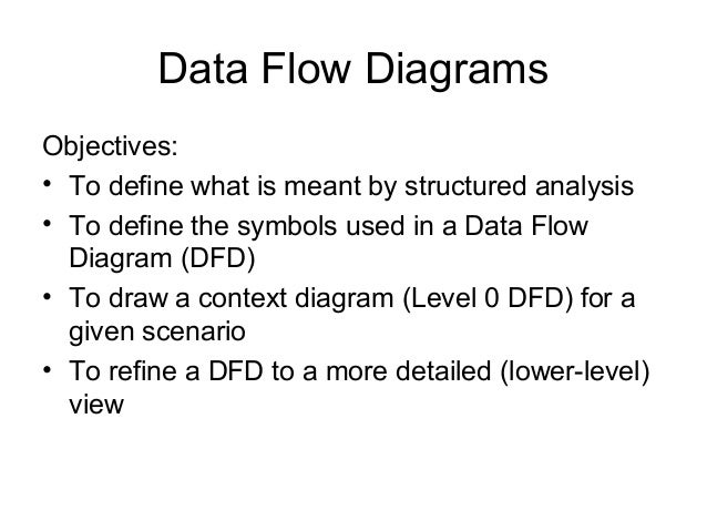 Data Flow Diagrams Objectives: • To define what is meant by structured analysis • To define the symbols used in a Data Flo...