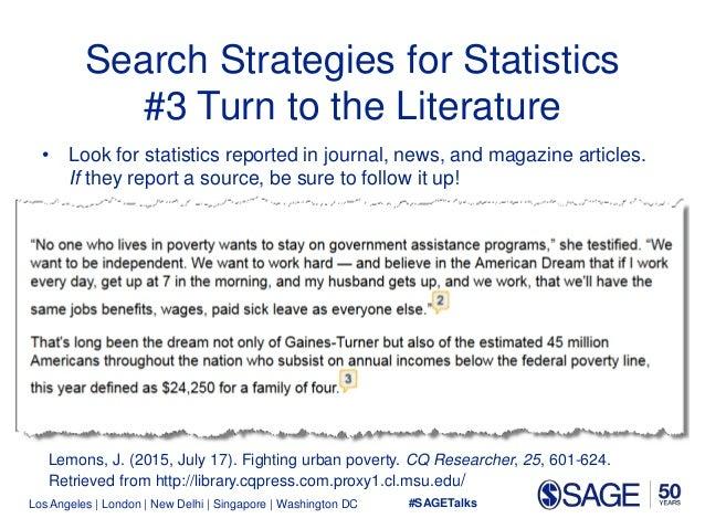 Los Angeles   London   New Delhi   Singapore   Washington DC Search Strategies for Statistics #3 Turn to the Literature • ...