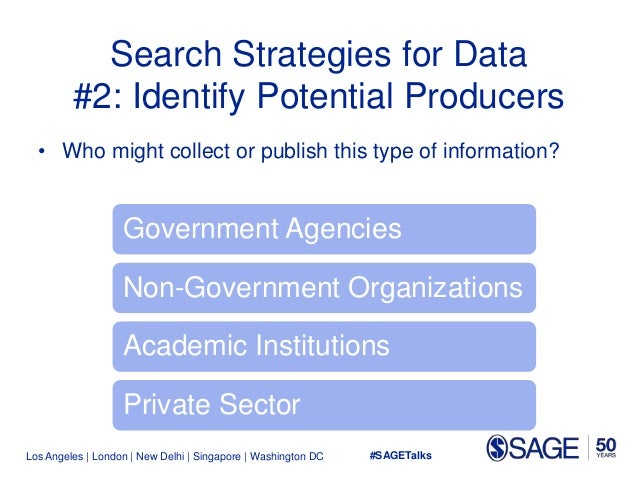 Los Angeles   London   New Delhi   Singapore   Washington DC Search Strategies for Data #2: Identify Potential Producers •...