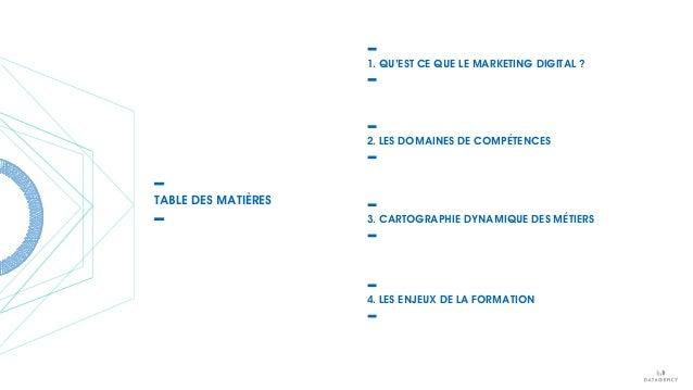 1. QU'EST CE QUE LE MARKETING DIGITAL ? 2. LES DOMAINES DE COMPÉTENCES 3. CARTOGRAPHIE DYNAMIQUE DES MÉTIERS 4. LES ENJEUX...