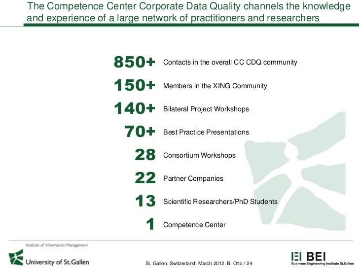 The Competence Center Corporate Data Quality channels the knowledgeand experience of a large network of practitioners and ...