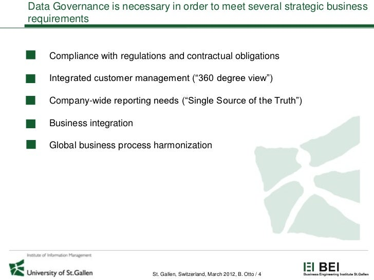 Data Governance is necessary in order to meet several strategic businessrequirements    Compliance with regulations and co...