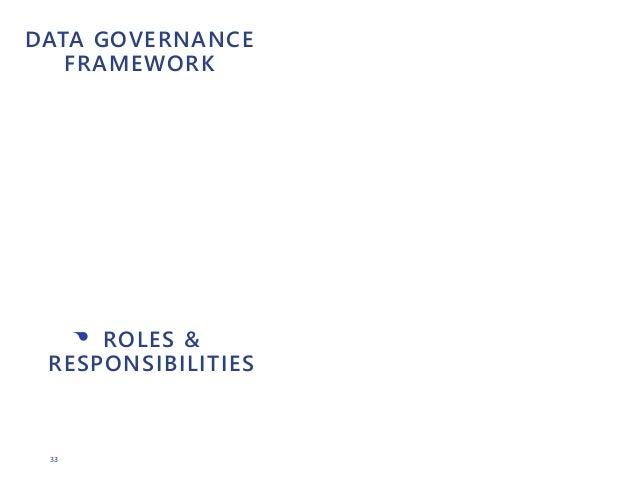 33 DATA GOVERNANCE FRAMEWORK • ROLES & RESPONSIBILITIES