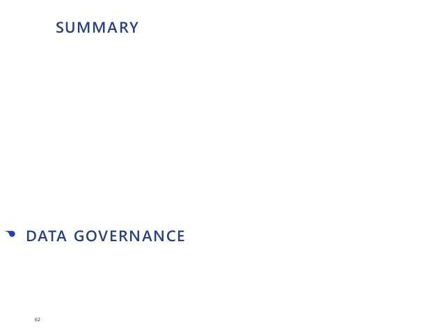 62 SUMMARY • DATA GOVERNANCE