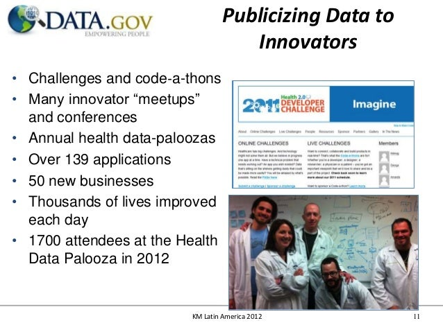 """Publicizing Data to                                     Innovators• Challenges and code‐a-thons• Many innovator """"meetups"""" ..."""