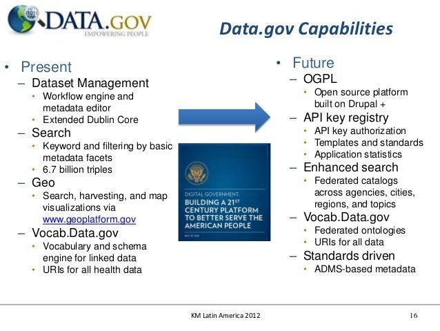 Data.gov Capabilities• Present                                                     • Future – Dataset Management          ...