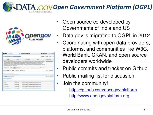 Open Government Platform (OGPL) • Open source co-developed by   Governments of India and US • Data.gov is migrating to OGP...