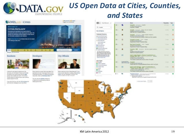 US Open Data at Cities, Counties,         and States   KM Latin America 2012      19