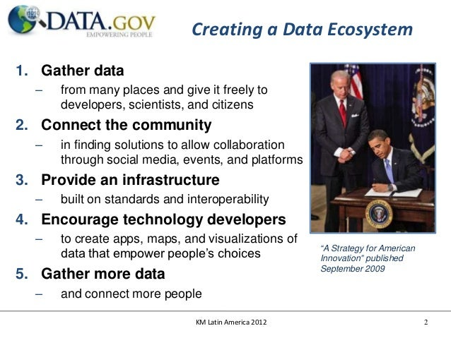 Creating a Data Ecosystem1. Gather data  –   from many places and give it freely to      developers, scientists, and citiz...