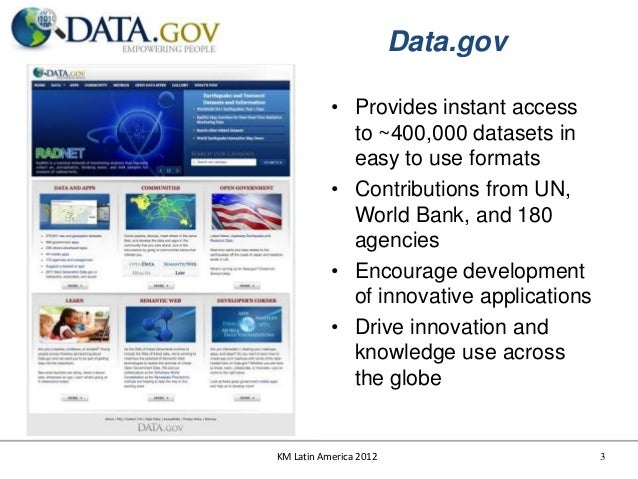 Data.gov           • Provides instant access             to ~400,000 datasets in             easy to use formats          ...