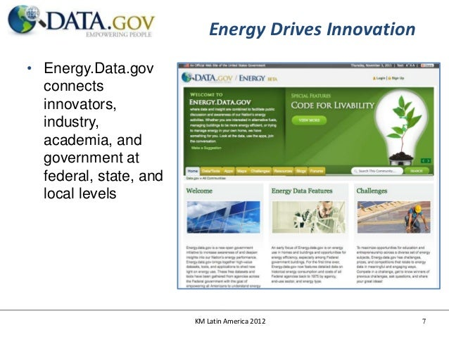 Energy Drives Innovation• Energy.Data.gov  connects  innovators,  industry,  academia, and  government at  federal, state,...