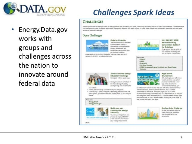 Challenges Spark Ideas• Energy.Data.gov  works with  groups and  challenges across  the nation to  innovate around  federa...
